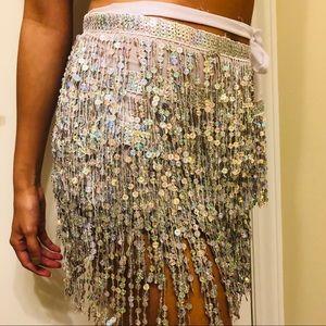 eec7abf782517b Dresses & Skirts - Silver Sequin Fringe Skirt